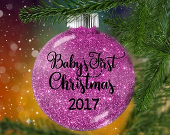 Baby's First Christmas Glitter Ornament,  Shatter Resistant Glass, Glittered Bauble for Parent or Grandparent, Child's 1st Christmas