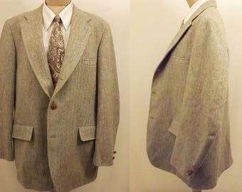 50's Vintage Green Harris Tweed Scottish Wool Sport Coat Size 40