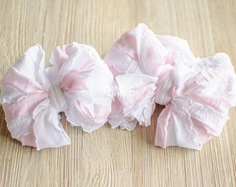 Messy Ruffle Bow Headband - Pale Pink and White Stripes