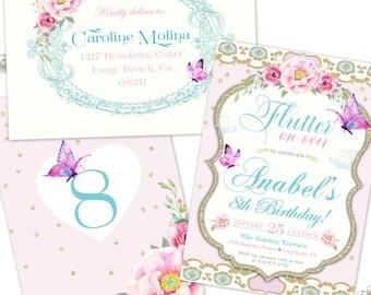 Butterfly Birthday Invitation, Girl's Birthday Party Invitation Butterfly Theme, Floral, Gold, Pink, Purple, Printable Invite or Printed