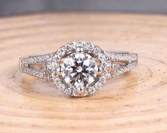 Round 5.75MM Solid 14K White Gold Ring / Semi Mount Ring / Engagement Ring / Wedding Ring