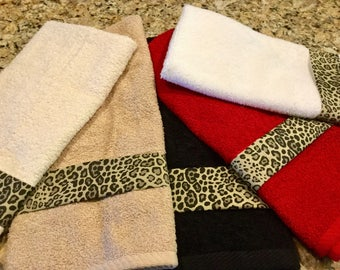 Leopard Decorated Hand Towels, Leopard Decor, Bathroom Hand Towel, Bathroom  Decor, Kitchen