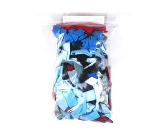 Fleece scraps for pets- red, blue & gray mix - great for small animals to play and sleep in - washable -nesting material- READY TO SHIP