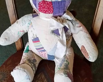 Pieced from old quilts, sitting bear.
