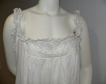 Antique  Edwardian Lace  and Embroidered Nightgown XL