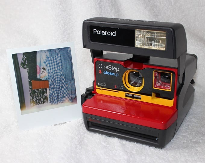 Red and Yellow Upcycled Working Polaroid 600 OneStep With Close Up And Flash Built-In