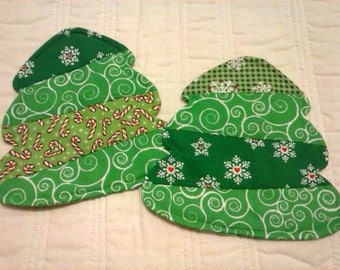 Christmas Tree Mug Rugs - Christmas Mug Rugs - Christmas Coasters - Set of Two