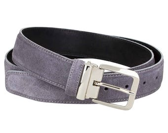 Gray suede Leather belt Mens belt Womens belt Handmade Italian leather ITALIAN BUCKLE