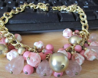 "vintage thick entwined goldtone choker 17""necklace pink/white  and assorted beads"