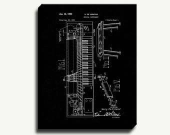 Canvas Patent Print - Musical Instrument Gallery Wrapped Canvas Poster