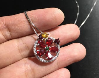 Red ruby necklace 925 sterling silver