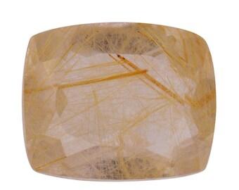 Golden Aurelia Rutilated Quartz Loose Gemstone Cushion Cut 1A Quality 11x9mm TGW 2.85 cts.
