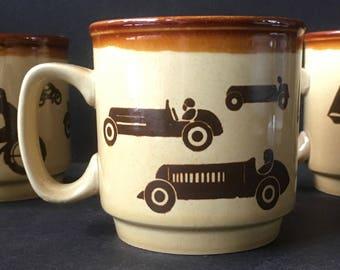 Set of 3 Mid Century Modern Biltons England Transportation Coffee Mugs Motorcycle Roadster Sailboat
