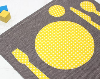 Montessori Placemat, Place-setting Placemat, Toddler Fabric Placemat, Kids Place Mat, Grey, Montessori Practical Life,Child's placemat
