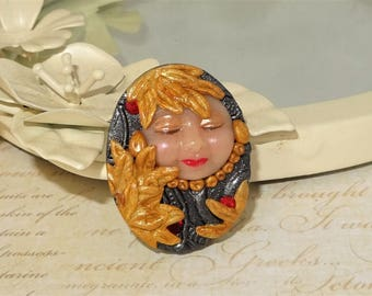 Goddess Fairy Elf Face Cabochon Beading Focal Pendant - C767