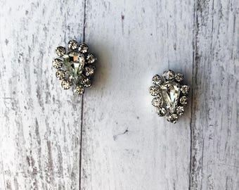 Art Deco Earrings/ Vintage Earrings/ Rhinestone Earrings/ Crystal Earrings/ Bridal Earrings/ Wedding Earrings/ Silver Earrings/ Studs