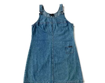 90's Grunge Jean Dress Denim Jumper Overalls