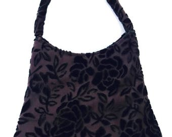 sALe 30% off 90's Floral Velvet Small Handbag Purse Evening Bag