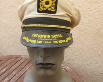 Size 6 7/8 to 7  1/2 (Adjustable) ** Wonderful 1950s Columbia Gorge Captain's Hat