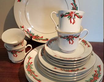 Poinsettia Ribbons Christmas Dishes service for 4