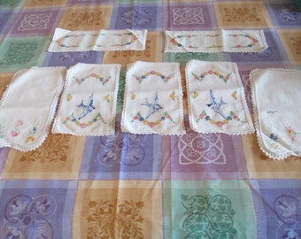 Embroidered - Doylies  - Bluebirds - Couches or Tables or Armchairs with Blue Bird Motif and Flowers.  7 Pieces - Gorgeous! Bluebird