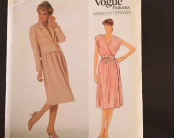 Vintage Vogue American Designer Sewing Pattern 2920, Adele Simpson, Misses' / petite jacket, belt and dress, size 14, Uncut, Factory folded