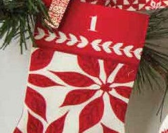 Merry Merry by Kate Spain Advent Calendar Stocking Kit - choose Spruce (Green) or Ribbon (Red)