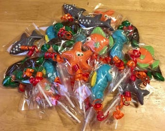 Sea Creatures Chocolate lollipops