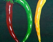 Red Chili Peppers Painting, Chili Pepper Art, Original Painting, Home Decor, Gift, RESERVED FOR JILL