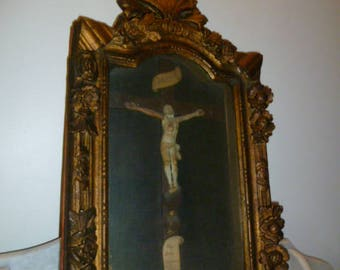 Antique French crucifix cross with JESUS in Regency style wood showcase early 19th Century