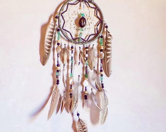 Large dreamcatcher, Genuine leather, green aventurine genuine gemstone, Natural shell, wooden beads, antique silver plated beads