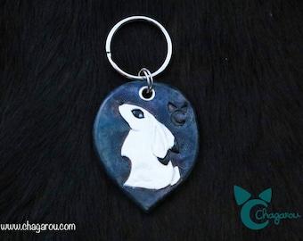 """Arctic rabbit"" leather keychain."