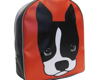Kids Dog Backpack by Little Packrats, Gift for Dog Lover, School Size Jack the Dog Boston Terrier Backpack