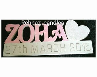 Personalised name stand with heart-Girl name stand/ Room decor/ Personalised gifts