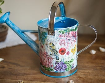 Metal watering hand painted can, Blue decoupaged watering can, Garden watering can, Garden decoration