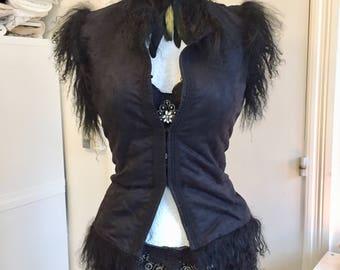 Black fake fur vest,black wrap,vintage inspired jacket ,black wedding jacket , bolero jacket, Gothic inspired  cardi, rawrags vest,steampunk