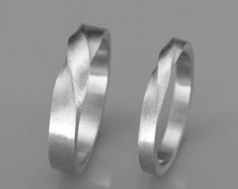 14k White Gold Mubius Rings Set Ladies ring set | His and Hers Mobius Rings set | 14k White Gold Mobius Wedding Bands set