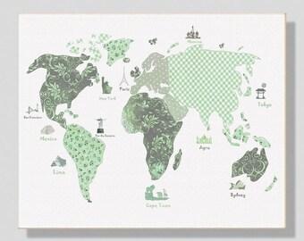 31,Nursery wall art decor,travel nursery,baby girl art,mint,gray,world map, tableau chambre enfant