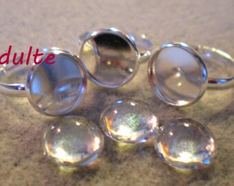 SET of 3 cabochons + supports 3 rings with 12 mm silver metal rim