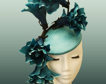 Turquoise Fascinator; Jade Derby Hat; Aqua Ascot Headpiece; Sea Green Fascinator; Architectural Headpiece; Structured Veil Hat