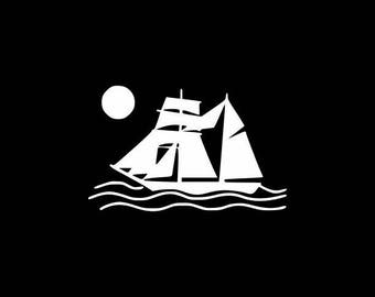 Sailboat Decal, Sailing Decals, Laptop Decal Sticker,Sailor, Sailboating, Sailboat and Sun Decal