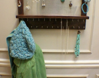 ON SALE Stained Wall Mounted Jewelry Organizer, Wall Organizer, Jewelry Display, Necklace Holder, Earring Organizer