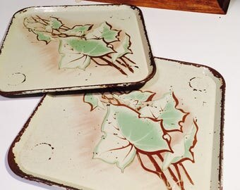 Tin Lithograph Trays, Leaf Design, Distressed Metal Trays 1950's