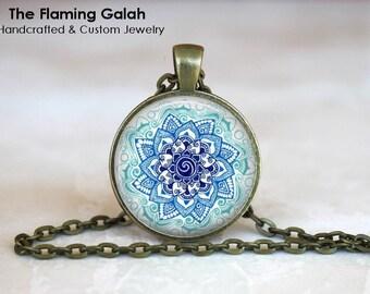 BLUE MANDALA Pendant • Hindu Mandala • Buddhist • Peace • Love • Understanding • Gift Under 20 • Made in Australia (P1366)