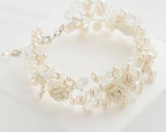 Cuff Bracelet Swarovski Crystals, Freshwater Pearls and Ivory Roses Wedding