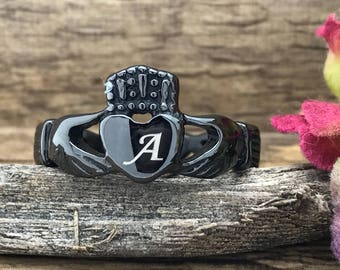 FREE ENGRAVING Black Claddagh Ring, Black IP Plated Stainless Steel Claddagh Ring, Irish Celtic Claddagh Ring, Engagement Ring