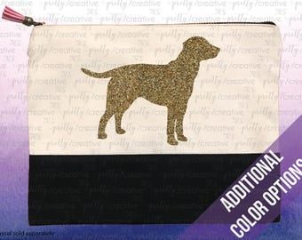 Labrador Retriever Dog Two Tone Makeup/Travel Cosmetic Bag with Black Canvas Trim -  Black, Silver or Gold Glitter