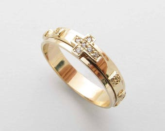 R52978 14K 18K Solid Gold Rosary Ring Rolling Cross