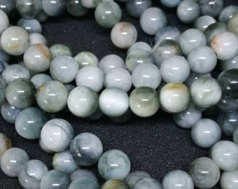 10 natural stone 6mm grey eagle eye beads