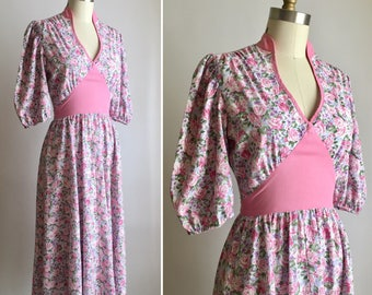 70s open back dress XXS/XS ~ vintage floral summer dress